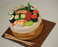 Sushi cake for a casual Japanese or Asian theme party from Truffle Park on Multiply