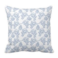 Pretty Indigo Blue Ethnic Floral Print Pillow