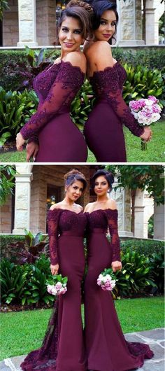 Sexy Mermaid Long Sleeve Lace Long Bridesmaid Dress with Small Train Burgundy Bridesmaid Dresses The short bridesmaid dresses are fully lined 4 bones in the bodice chest pad in the bust lace up back or zipper back are all available total 126 c Bridesmaid Dresses With Sleeves, Mermaid Bridesmaid Dresses, Lace Bridesmaids, Mermaid Dresses, Lace Mermaid, Mermaid Style, Sangria Bridesmaid Dresses, Eggplant Bridesmaid Dresses, Wedding Inspiration