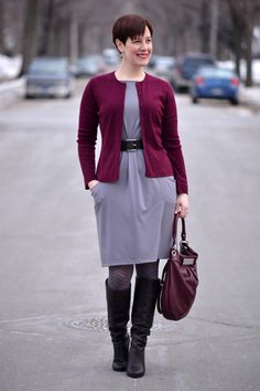 Already Pretty outfit featuring burgundy cardigan. gray ponte knit dress, brown belt, brown slouch boots, Marc by Marc Jacobs Hillier Hobo, polka dot tights
