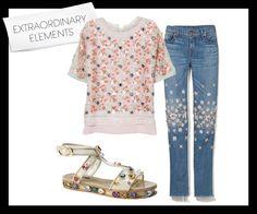 http://fashionm1.blogspot.com - Prints and Embelishments  Diane von Furstenberg Delilah organza top, Dolce  Gabbana jeweled sandal, J Brand x Christopher Kane embellished jeans    #style #fashion #couture #designer #HauteCouture #prints #embelishment #trend