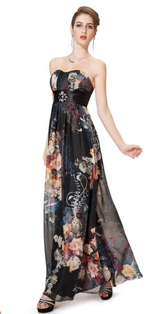 Empire Floral Printed Strapless Prom Party Maxi Dress - Ever-Pretty  #everpretty #floral #maxi