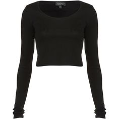 TOPSHOP Long Sleeve Crop Tee (84 HNL) ❤ liked on Polyvore featuring tops, shirts, crop tops, long sleeves, black, long-sleeve shirt, scoop neck crop top, crop shirt, cotton shirts and cotton crop top