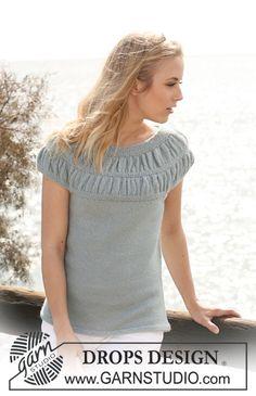 """Pull manches courtes DROPS en """"Alpaca"""", empiècement froncé tricoté en rond avec 2 fils. Du S au XXXL. ~ DROPS Design"""