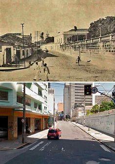 Rua Sena Madureira com a Praça dos Leões à direita. A foto antiga é do início do século XX.