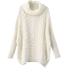 SheIn Women's Turtleneck Chunky Cable Knit Long Sleeve Sweater (€26) ❤ liked on Polyvore featuring tops, sweaters, shirts, long sleeves, turtleneck sweater, long sleeve shirts, white long sleeve shirt, white sweater and white turtleneck shirt