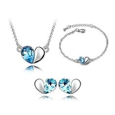 2015 Austrian Crystal Heart Necklace Earrings Bracelet Jewelry Sets Women Bridal Jewelry Set Indian Crystals From Swarovski Heart Jewelry, Crystal Jewelry, Crystal Necklace, Jewelry Bracelets, Silver Jewelry, Crystal Pendant, Crystal Rhinestone, 925 Silver, Cheap Bracelets