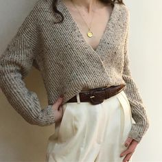 Vintage oatmeal wool blend low drape collar ribbed sweater. S/m $58 + shipping SOLD