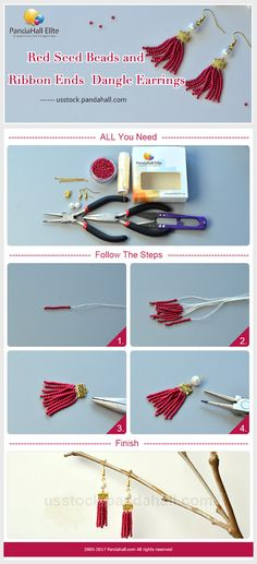 DIY dangle earrings with PandaHall Elite red seed beads and ribbon ends~