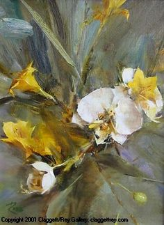 L. Robb - White Orchids and Yellow Lilies