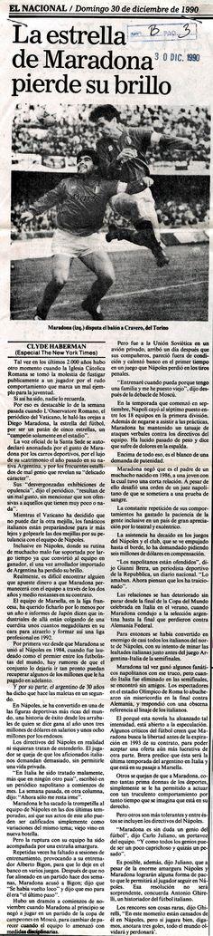 La estrella de Maradona pierde su brillo. Publicado el 30 de diciembre de 1990.