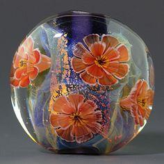 Ikuyoglassart Handmade Lampwork Flower Silver glass Gold leaves Focal Bead SRA