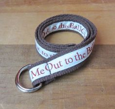 """Take Me Out to the Ball Game"" Adjustable D Ring Belt for Kids."
