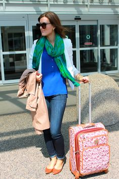 Study Abroad in Florence, Italy Look One {Ciao Firenze} Sporting sophisticated layers, including a white blazer, blue chiffon tunic (threw in last minute), Express ankle jeans, cognac flats and a amazing scarf.