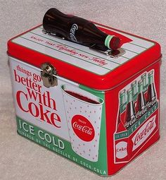 "Coca-Cola ""things Go Better With Coke"" Train Case / Lunch Box Tin"