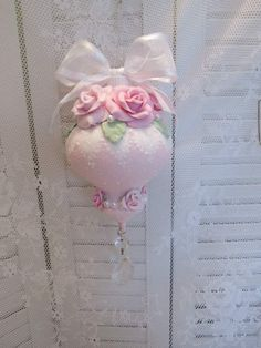 hp pink shabby clay roses Glass Xmas Ornament Prism cottage chic victorian   eBay
