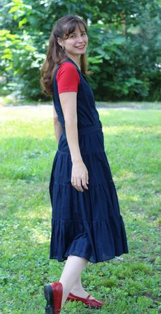 The Modest Mom - Blue Dress With Halftee - Fashion for Women