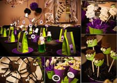 Plan a Spooky Party for Under $50. Links included to each of the different crafts too! AWESOME!!! And I love the purple green combo!