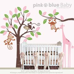 Two Girl Monkeys and giraffe  Nursery Kids by pinknbluebaby