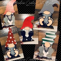 Scrap Wood Crafts, Wood Block Crafts, Spring Painting, Diy Painting, Gnome Paint, Christmas Wood, Christmas Stuff, Country Crafts, Ladies Night