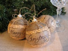 Rustic Christmas ornament set of 3.. by Mydaisy2000 on Etsy