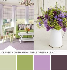Apple Green + Lilac Palette. Inspired by Mothers and Daughters from HGTV Design Happens >> http://blog.hgtv.com/design/2013/04/16/lilac-green-girls-room-color-palette/?soc=pinterest