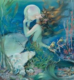 Mermaid. Would love to use these series of paintings for a nursery... art you can grow up with, yes?