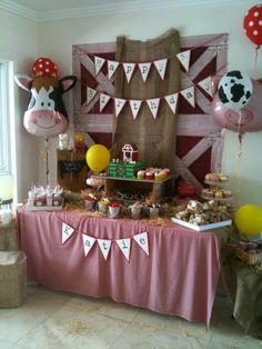 Farmhouse entertaining at its best. See more barnyard birthday party and birthday parties for kids on www. Cow Birthday, Farm Animal Birthday, Cowgirl Birthday, First Birthday Parties, Birthday Party Themes, Farm Yard Birthday Party, Birthday Ideas, Farm Themed Party, Barnyard Party