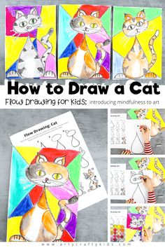 Flow Drawing for Kids: How to Draw a Cat with mindfulness - simple drawing guide for kids using flowing repetative lines and shapes. Easy Drawings For Beginners, Drawing Tutorials For Kids, Easy Drawings For Kids, Drawing Projects, Drawing For Kids, Cool Drawings, Art For Kids, Art Projects, Simple Drawings