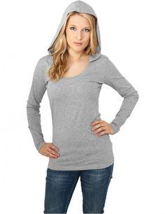 Ladies Deep Neck Jersey Hoody TB599 Grey