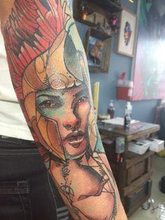 Trabajo del Tatuador colombiano Daniel Acosta León.  Bellatrix. Guerrera.