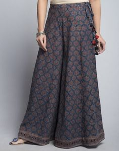 CottonAjrakTasselDrawstring WaistHand Wash Separately in Cold Water palazzo zara Kurta Designs, Blouse Designs, Indian Dresses, Indian Outfits, Cotton Palazzo Pants, Palazzo Pants Indian, Palazzo Trousers, Linen Pants, Fashion Pants