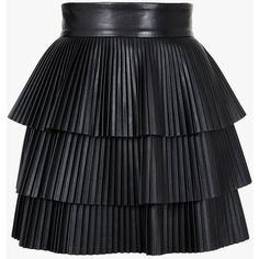 Balmain Pleated leather mini skirt (321270 RSD) found on Polyvore featuring skirts, mini skirts, bottoms, balmain, saias, high waisted skirts, mini skirt, pleated skirt, black leather mini skirt and short skirts