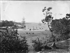 Careening Cove, near Kirribilli, Sydney, Australia. It was here ships were brought in by tidal knowledge and were tilted to repair and maintain their hulls.Photo dated from Powerhouse Museum collection. Sydney City, Sydney Harbour Bridge, Museum Collection, Sydney Australia, North Shore, Vintage Photography, Historical Photos, Old Photos, Paris Skyline