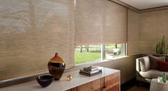 Image 2:  Designer Screen Shades for Garage.  This image shows a semi-opaque fabric.