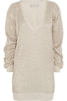 Stella McCartney Beaded wool, silk and cashmere-blend sweater | THE OUTNET
