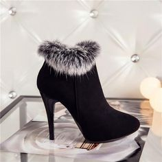 Fur Lined Winter Ankle Boots Stilettos, High Heels, Shoes Heels, Dress With Boots, Dress And Heels, Boots For Short Women, Boots For Ladies, Boots Women, Short Boots