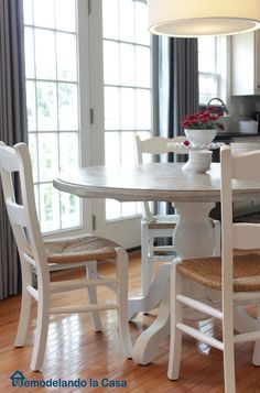 Painted chairs and table with driftwood stained top