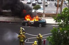 Los Angeles: Firefighter is nonchalant to a car exploding.
