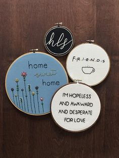this is a custom made 8 embroidered hoop with a personal design created by randi. this canvas hoop says Im hopeless and awkward and desperate for love which is a quote from Chandler Bing from the tv series f.r.i.e.n.d.s! || a b o u t t h e p r o d u c t || - 8 wooden hoop - friends tv show quote - Chandler Bing - hand-stitched - canvas fabric - black thread || p e r f e c t f o r || - home decor - gift || c u s t o m i z e || - custom orders always available! || s h o w s o m e l o...