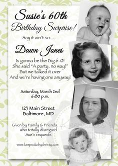 Custom Milestone Birthday Invitation... 30th, 40th, 50th, 60th, 70th, 75th, 80th, 90th. $10.95, via Etsy.