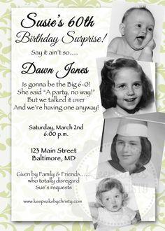 Custom Milestone Birthday Invitation... 30th, 40th, 50th, 60th, 70th, 75th, 80th, 90th. $10.95, via Etsy.