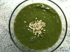 green smoothie topped with sesame