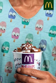 McFlurry Ads makes ice cream sad in these fun McDonald's Ads. Check them out at Ateriet along with lots of more fun food culture and food advertising. Creative Advertising, Brand Advertising, Ads Creative, Advertising Poster, Advertising Campaign, Commercial Advertisement, Creative Design, Guerilla Marketing, Flyer Design