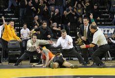 University of Iowa Wrestling - Tony Ramos - take down - 2 points!