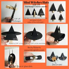 Inking Idaho: Mini Witch Hats and a New Coach Collective Coming Soon Halloween Paper Crafts, Halloween Cards, Fall Crafts, Holiday Crafts, Halloween Decorations, Diy Crafts, Happy Halloween, Holidays Halloween, Halloween Treats