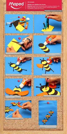 This Pin was discovered by Nur Insect Crafts, Bee Crafts, Diy Arts And Crafts, Handmade Crafts, Paper Crafts, Art For Kids, Crafts For Kids, Bee Party, Art N Craft