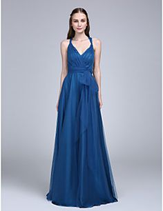LAN+TING+BRIDE+Floor-length+V-neck+Bridesmaid+Dress+-+Beautiful+Back+Sleeveless+Chiffon+–+USD+$+255.00