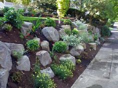 Boulder settings and retaining wall