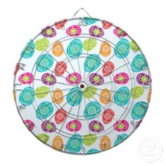 Colorful Spring Easter Eggs Pattern on Baby Blue Dart Board